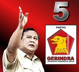Prabowo Subianto dengan Logo Gerindra
